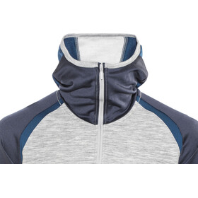 super.natural Motion Hooded 1/4 Zip Pullover Men Ash Melange/Navy Blazer